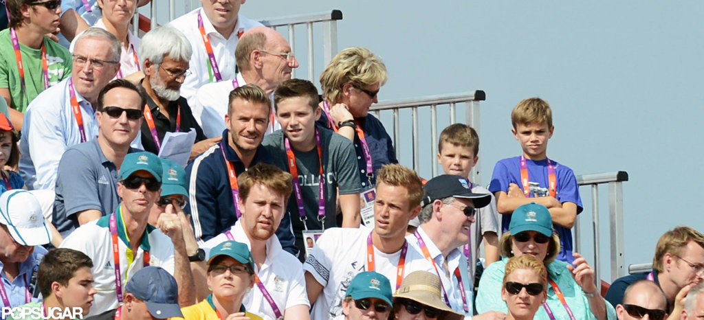 David Beckham watched the Olympic BMX finals with his sons Romeo Beckham, Cruz Beckham, and Brooklyn Beckham.