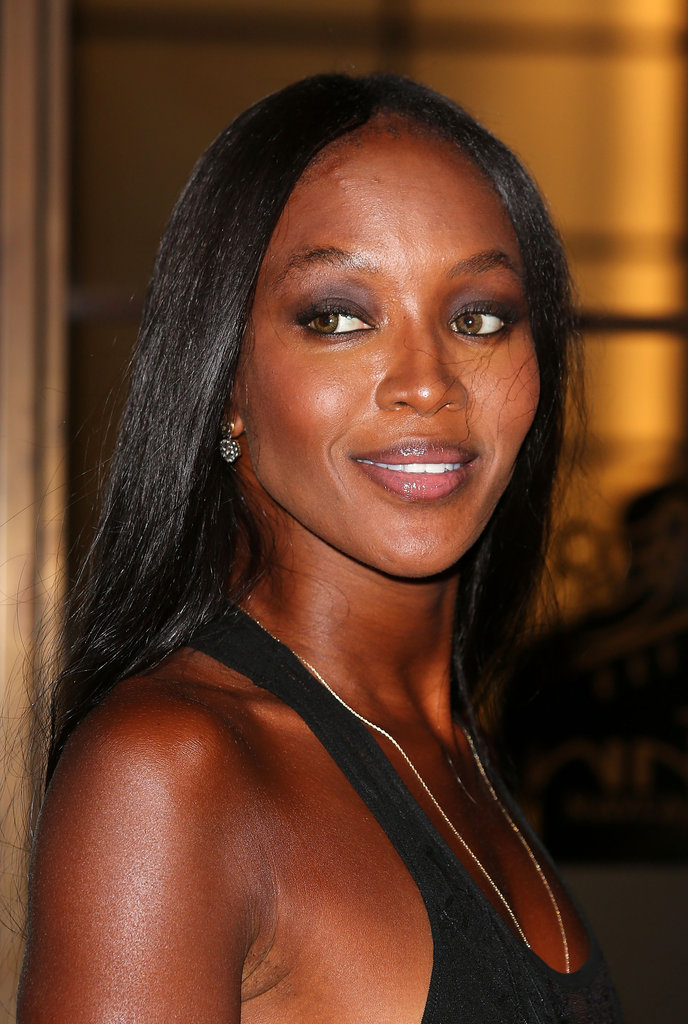 Naomi Campbell smiled at her charity dinner in London.
