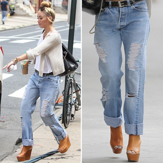 Give your boyfriend jeans a cool-girl makeover à la Miley Cyrus.