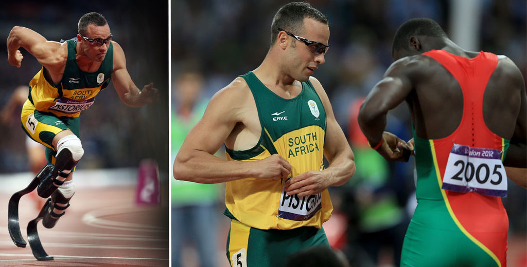 Oscar Pistorius's and Kirani James's Race-Bib Exchange
