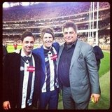 MasterChef's Andy Allen, Ben Milbourne and Matt Preston attended a Collingwood match. Source: Instagram user andy44