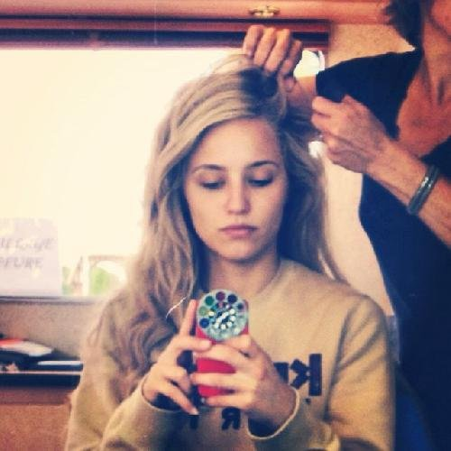 Glee star Dianna Agron prepared for a new role by getting some long hair extenstions added to her normally-short hair.