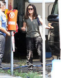 Sandra Bullock headed to a car on the set.