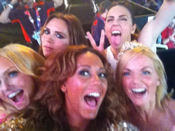 The Spice Girls posed for a photo before their closing ceremonies performance in August.  Source: Twitter user OfficialMelB