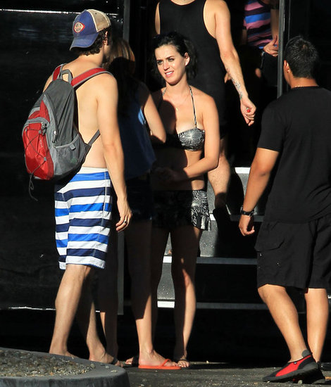Katy Perry wore a patterned bikini.