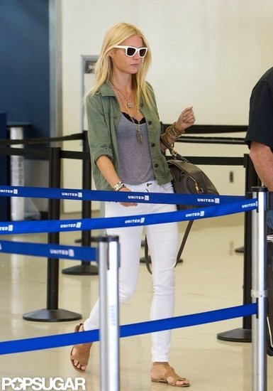 Gwyneth Paltrow Shows a Peek of Black Bra at LAX