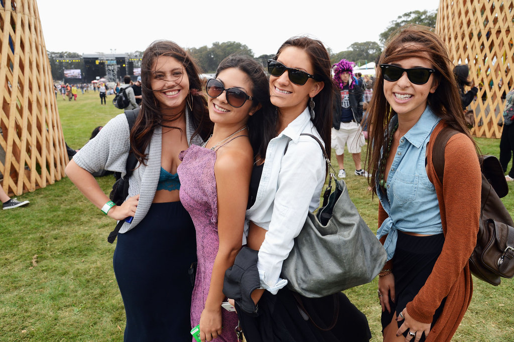 The tie-front blouse gets its Outside Lands love by way of one denim iteration at far right.