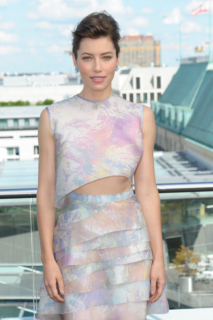 A closer look at Jessica Biel's asymmetrical Christian Cota crop top — and her enviable toned abs.