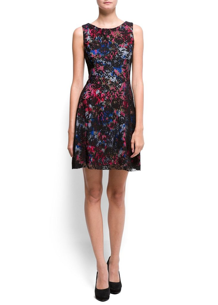 This floral lace dress looks much more expensive than it is. Mango Floral Lace Dress ($100)