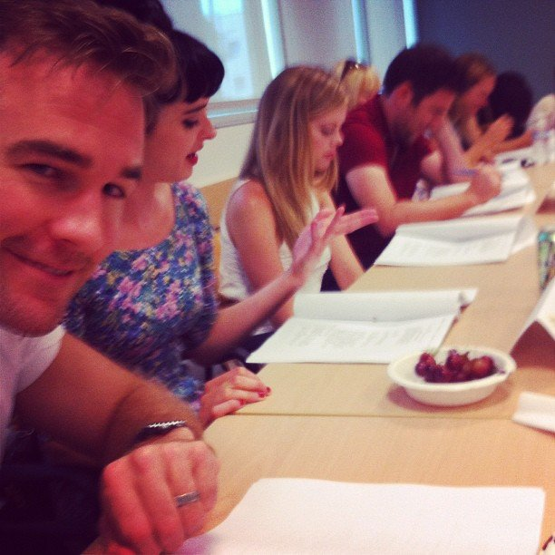 James Van Der Beek captured the Don't Trust the B---- cast at a table read. Source: Instagram user vanderjames