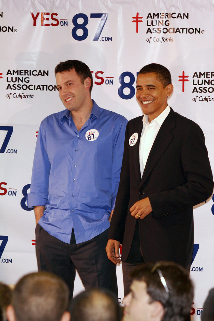 Ben Affleck lent his support to Prop 87 and President Obama at an October 2006 event in LA.