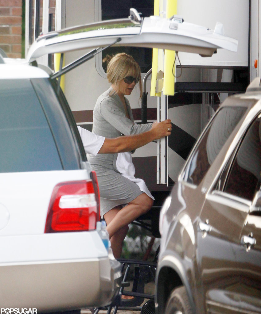 Jennifer Aniston on the set of her latest film We're the Millers.