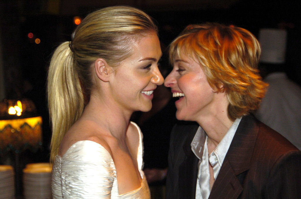Portia de Rossi and Ellen DeGeneres locked gazes at a January 2005 Golden Globes bash.