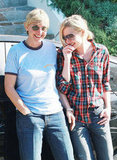 Ellen DeGeneres and Portia de Rossi cuddled up in LA in October 2008.