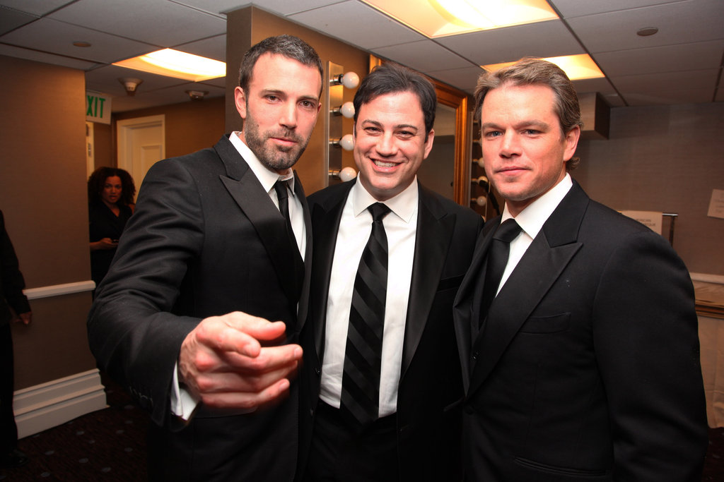 Ben Affleck crossed paths with pals Jimmy Kimmel and Matt Damon at the American Cinematheque Annual Gala Honoring Matt Damon in March 2010 in Beverly Hills, CA.