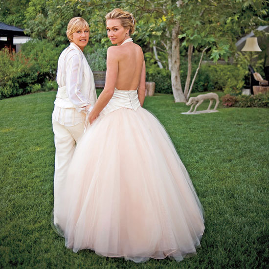 Ellen DeGeneres and Portia de Rossi tied the knot at their LA home in August 2008.