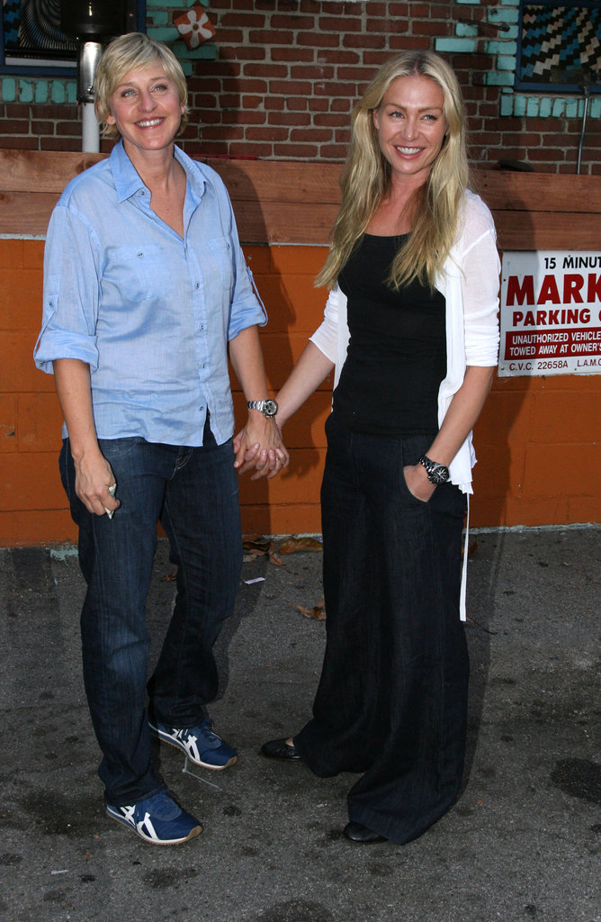 Portia de Rossi and Ellen DeGeneres stopped for a photo during a July 2007 date night in LA.