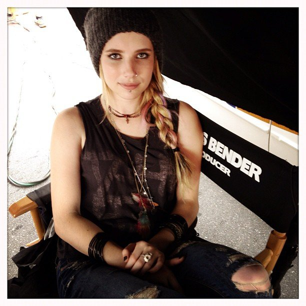 Emma Roberts was in character on the set of We're the Millers. Source: Instagram user emmaroberts6