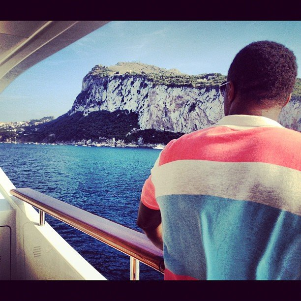 Diddy enjoyed the scenery from the deck of his yacht.  Source: Instagram user iamdiddy