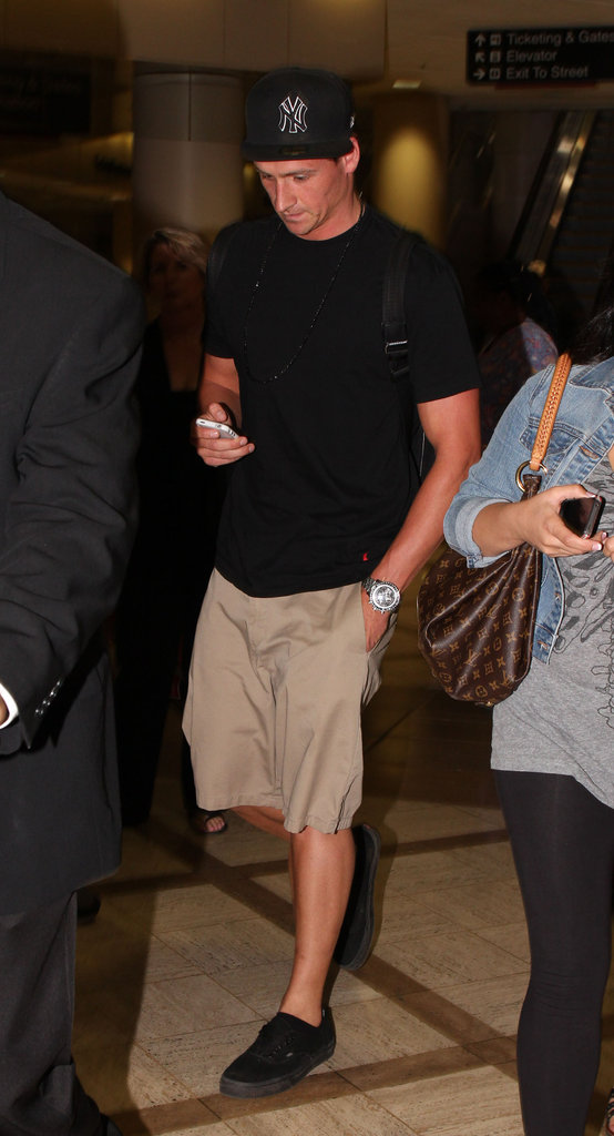 Ryan Lochte wore a black hat at LAX.