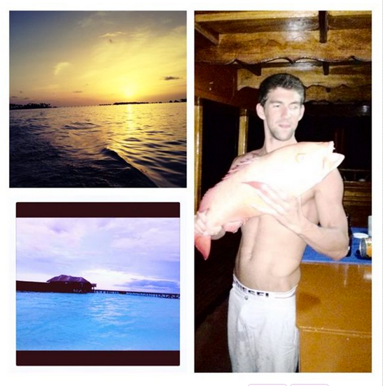 Michael Phelps kicked off his retirement with a fishing trip.  Source: Twitter user MichaelPhelps