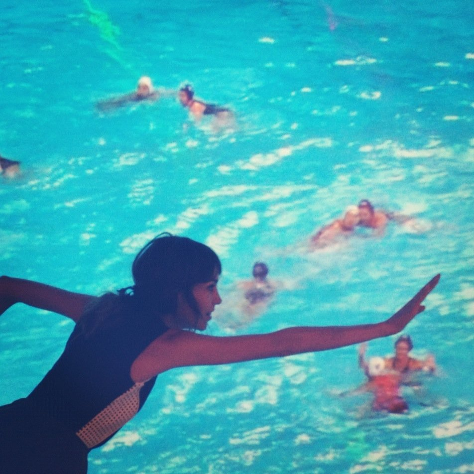 Alexa Chung posed as a member of the Olympic water polo team. Source: Twitter user alexa_chung