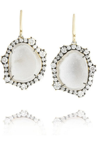 Kimberly McDonald | 18-karat gold diamond and geode earrings | NET-A-PORTER.COM