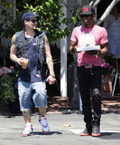 Joel Madden met up with a friend for lunch.