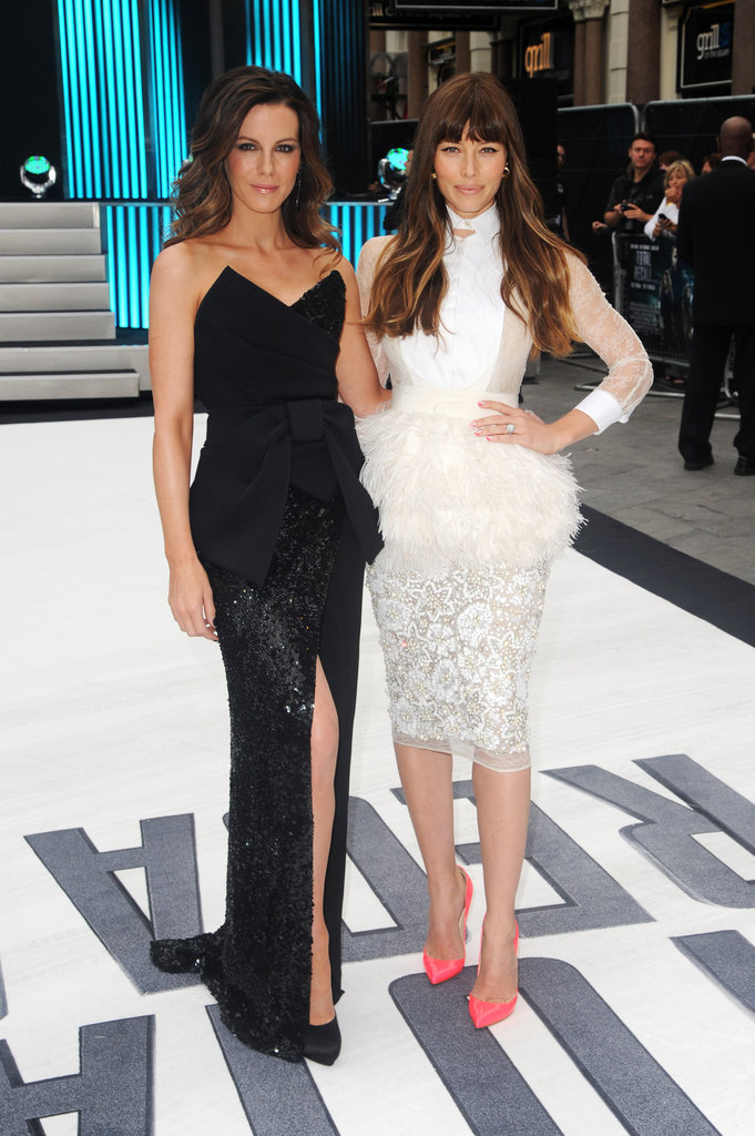 Kate Beckinsale and Jessica Biel posed together.