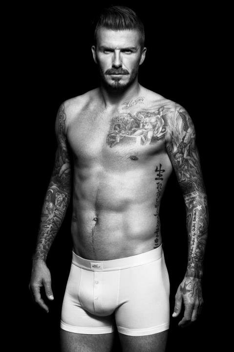 David Beckham's shirtless in his new H&M ads.
