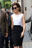 Kate Beckinsale wore a colorblocked black and white ensemble in London.
