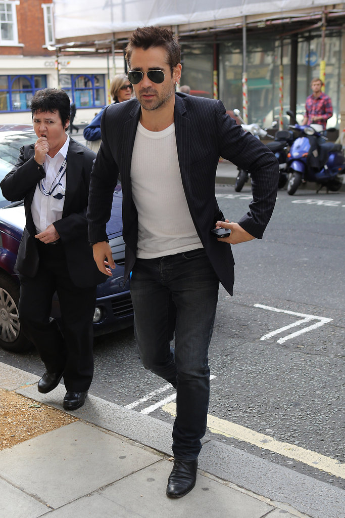Colin Farrell headed into BBC Radio in London.