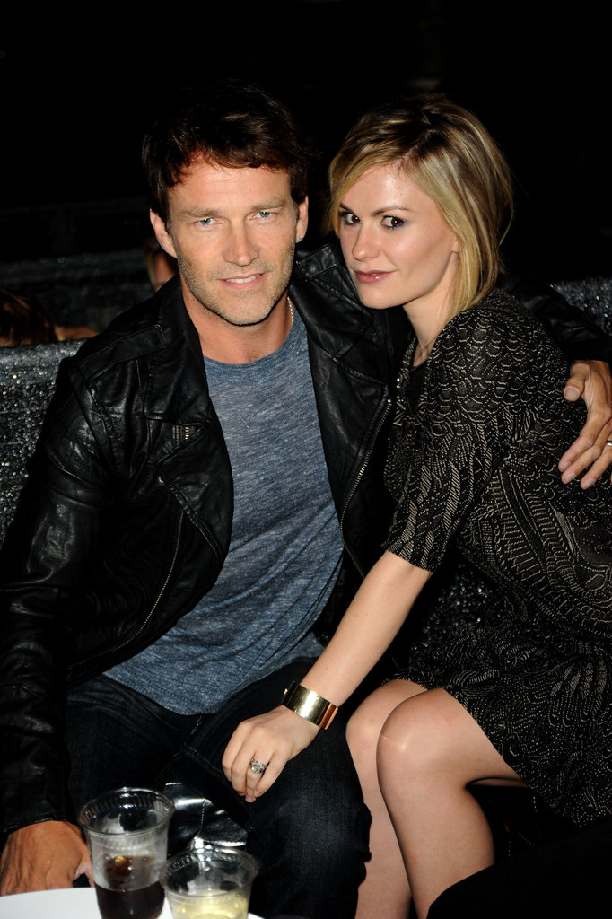 Anna Paquin placed a protective hand on Stephen Moyer's knee at the  October 2010 Spike TV Scream Awards in LA.