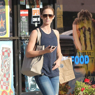 Emily Blunt Wearing Striped Tank