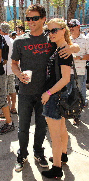 Anna Paquin and Stephen Moyer hugged it out at the Toyota Pro/Celebrity Race in April 2011 in Long Beach, California.