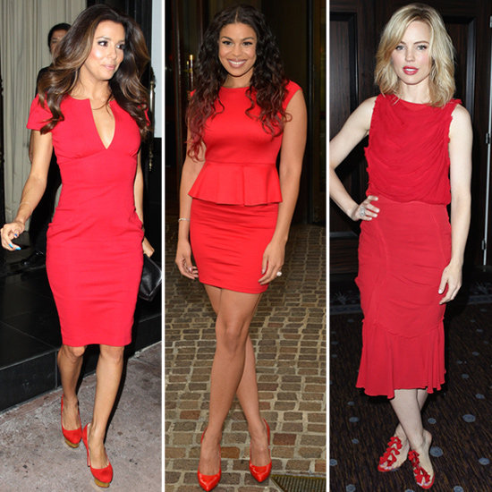 The latest fiery fashion fixture: red on red. Take it from the likes of Eva Longoria, Jordin Sparks, and Melissa George — then, shop the bold look for yourself.