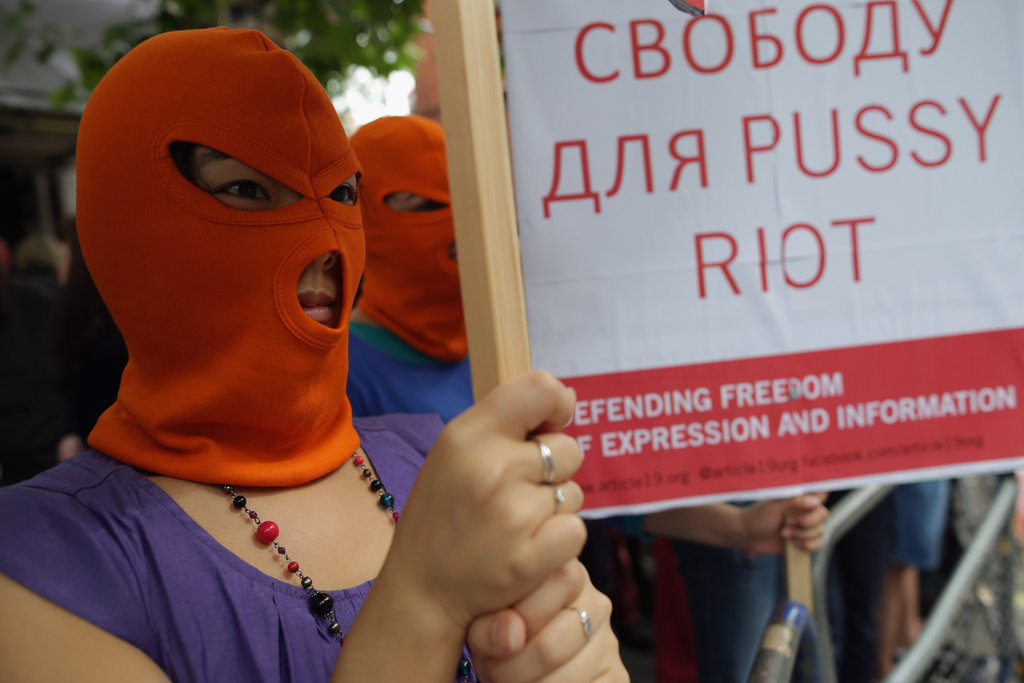 Demonstrators protested outside the Russian embassy in London.