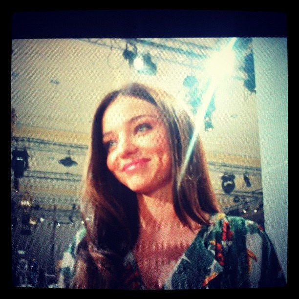 A glowing Miranda Kerr backstage at David Jones. Oh, what we wouldn't give for those dimples...
