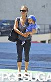 Natalie Portman and baby Aleph Portman grabbed lunch at Akasha in LA.