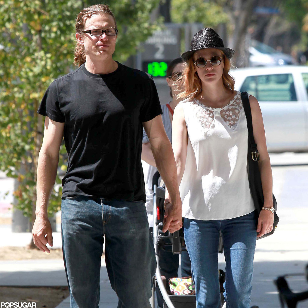 January Jones held hands with a man.