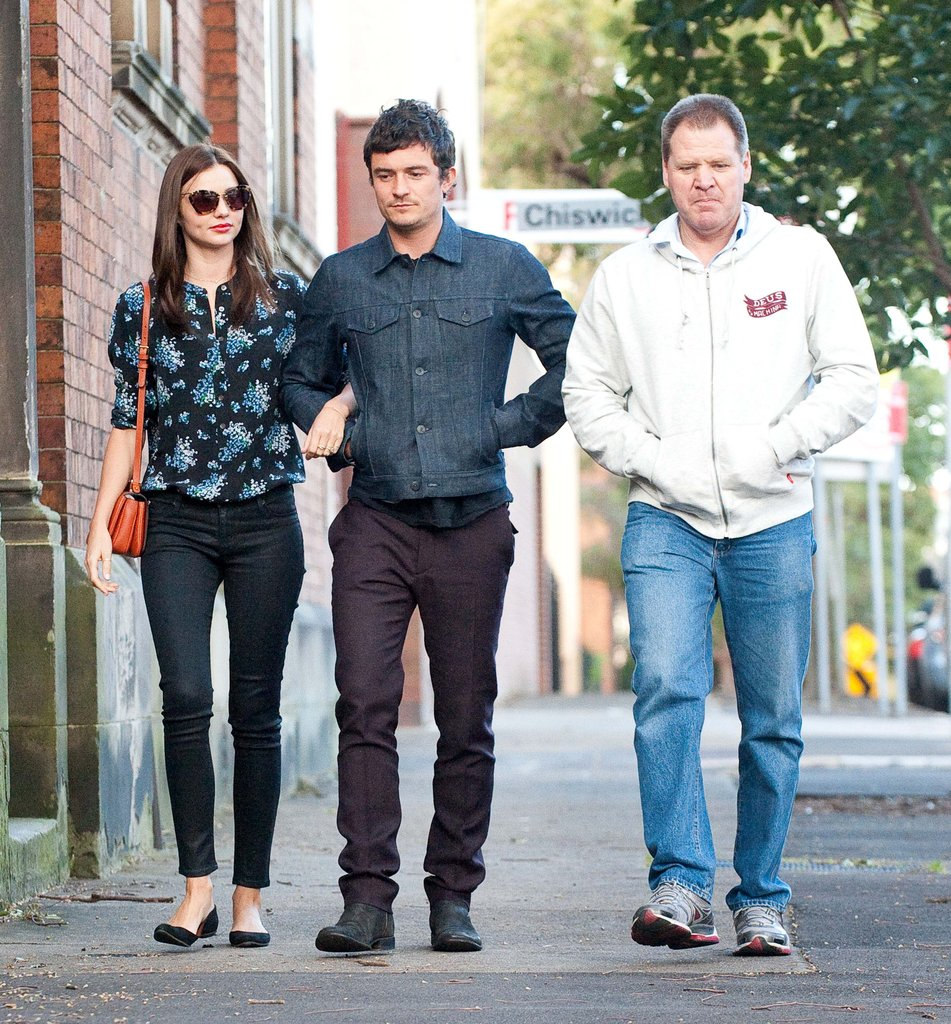Miranda Kerr and Orlando Bloom took a walk together in Sydney.