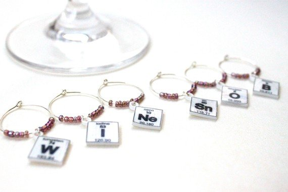 Periodic Table Wine Charms ($12)