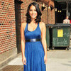 Olivia Munn Wearing Blue Dress at Letterman