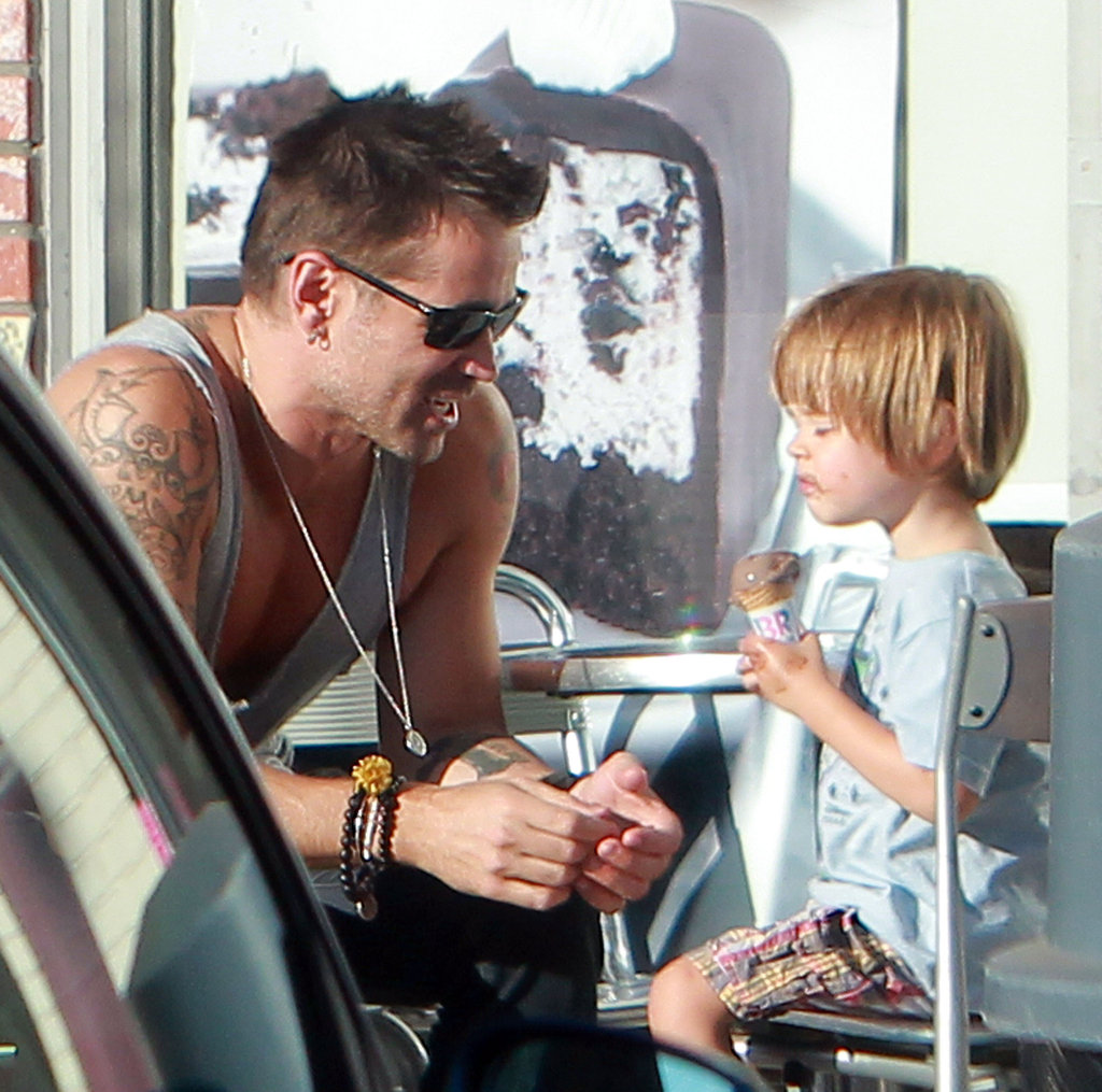 Colin Farrell smiled as he watched his son, Henry Farrell.