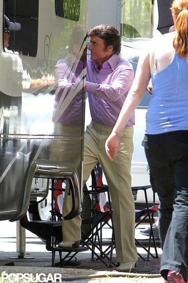 Michael Douglas stepped out of his trailer on the set of Behind the Candelabra.