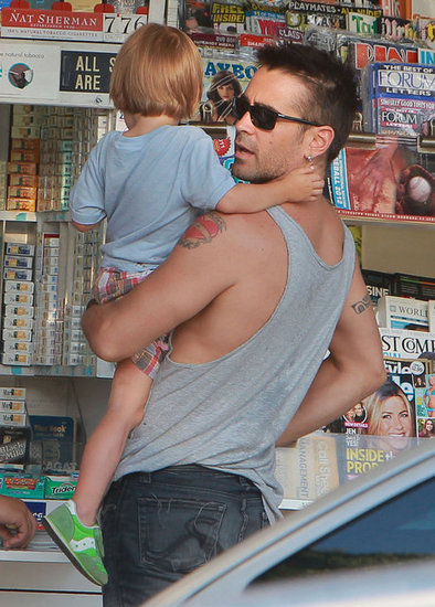 Colin Farrell carried his son, Henry Farrell.