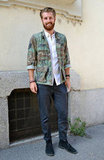 The cool utilitarian quality of camo looks especially chic when it's pared down — take notes and temper your camo with preppier fare like this guy's supple suede oxfords. 8391453 Source: Stylesight