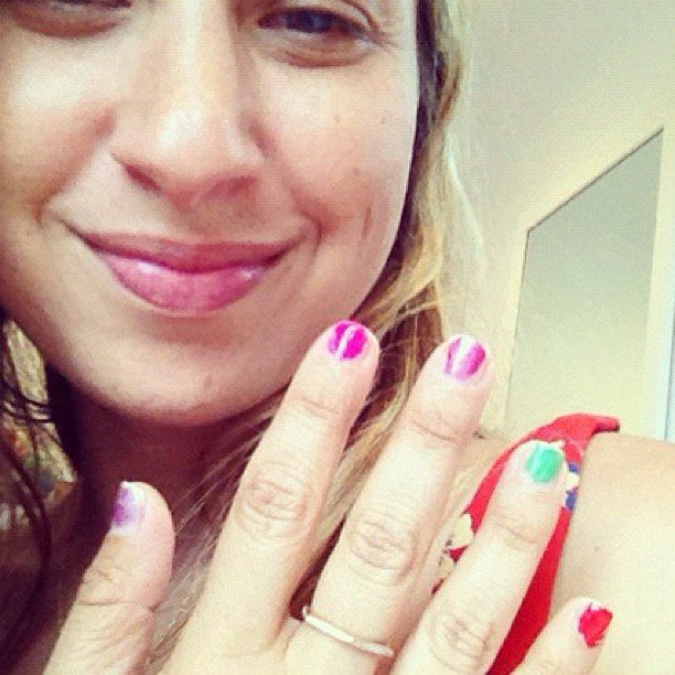 Jewelry designer Jennifer Meyer got a colorful manicure from her daughter Ruby.  Source: Instagram user jennifermeyerjewelry