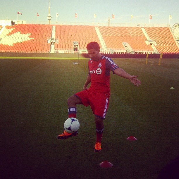 Drake showed off his soccer skills. Source: Instagram user champagnepapi