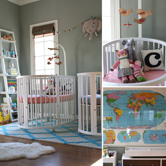 Oval Cribs in a Twin-tastic Nursery For a Lucky Boy and Girl
